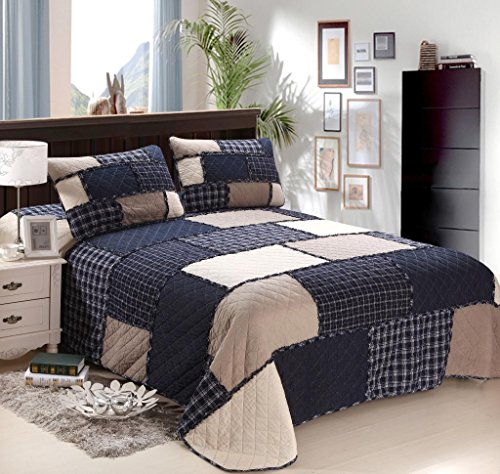 mixinni Cotton Reversible Printed Bedding 3 Piece Bedspread Quilt Set With Two Matching Shams-(Navy Blue2,Queen