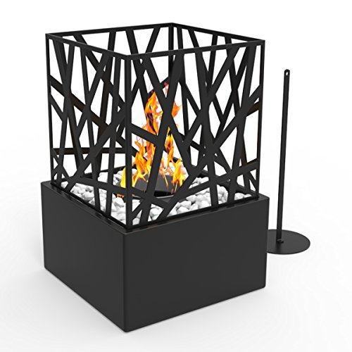 Flame Gel Fireplace - Regal Flame Bruno Ventless Indoor Outdoor Fire Pit Tabletop Portable Fire Bowl Pot Bio Ethanol Fireplace in Black - Realistic Clean Burning like Gel Fireplaces, or Propane Firepits
