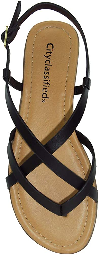 City Classified Spica Black Women/'s Strappy Slingback Sandals