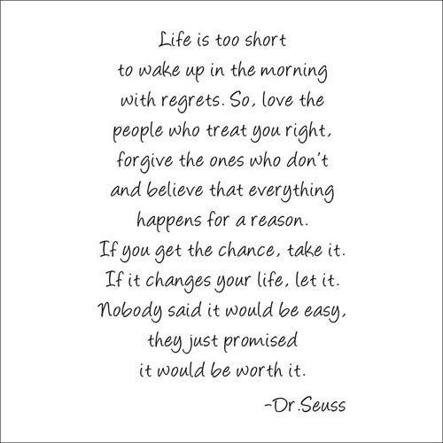 Boodecal Dr Seuss Series Inspirational Quote Wall Decals Life Is Too Short to Wake up in the Morning with Regrets Wall Stickers Decals 23*35 Inches ()