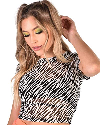 (iHeartRaves Black & White Zebra Stripe Wild Safari Mesh Crop Top (Small))
