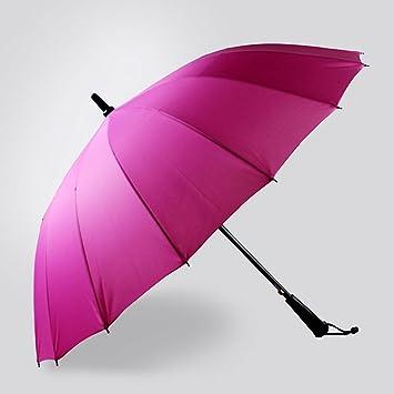 MOMO Paraguas de Mango Largo 16 Paraguas de Refuerzo de Hueso/Paraguas Recto/Lluvia