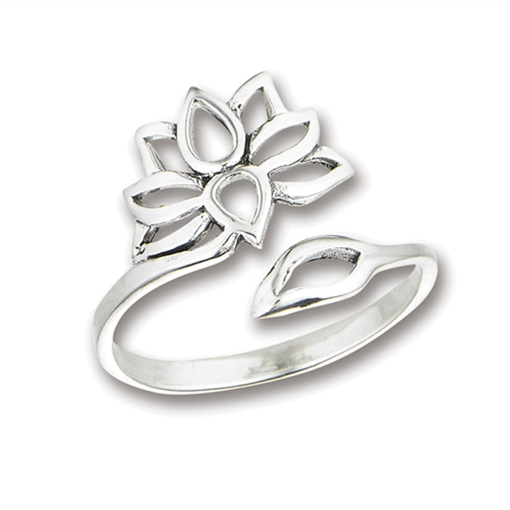 Open Adjustable Lotus Flower Thumb Ring New .925 Sterling Silver Band Size 9