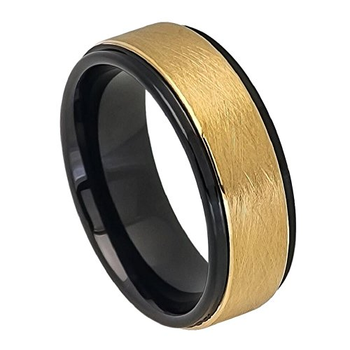 8mm Tungsten Carbide Two-tone Black IP Inside Yellow Gold IP Ice Finish Center Stepped Edge Wedding Band Ring