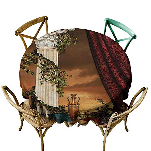 (Zmstroy Waterproof Tablecloth Gothic Greek Style Scene Climber Pillow Fruits Vine and Red Curtain Ancient Figure Sunset and Durable D39 Multicolor)