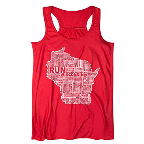 Gone For a Run Wisconsin Flowy Racerback Tank Top | Running Tanks by ChalkTalkSPORTS | Red | Adult X-Small by Gone For a Run