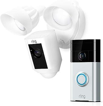 Ring Floodlight HD Motion Security Camera + Ring Video Doorbell