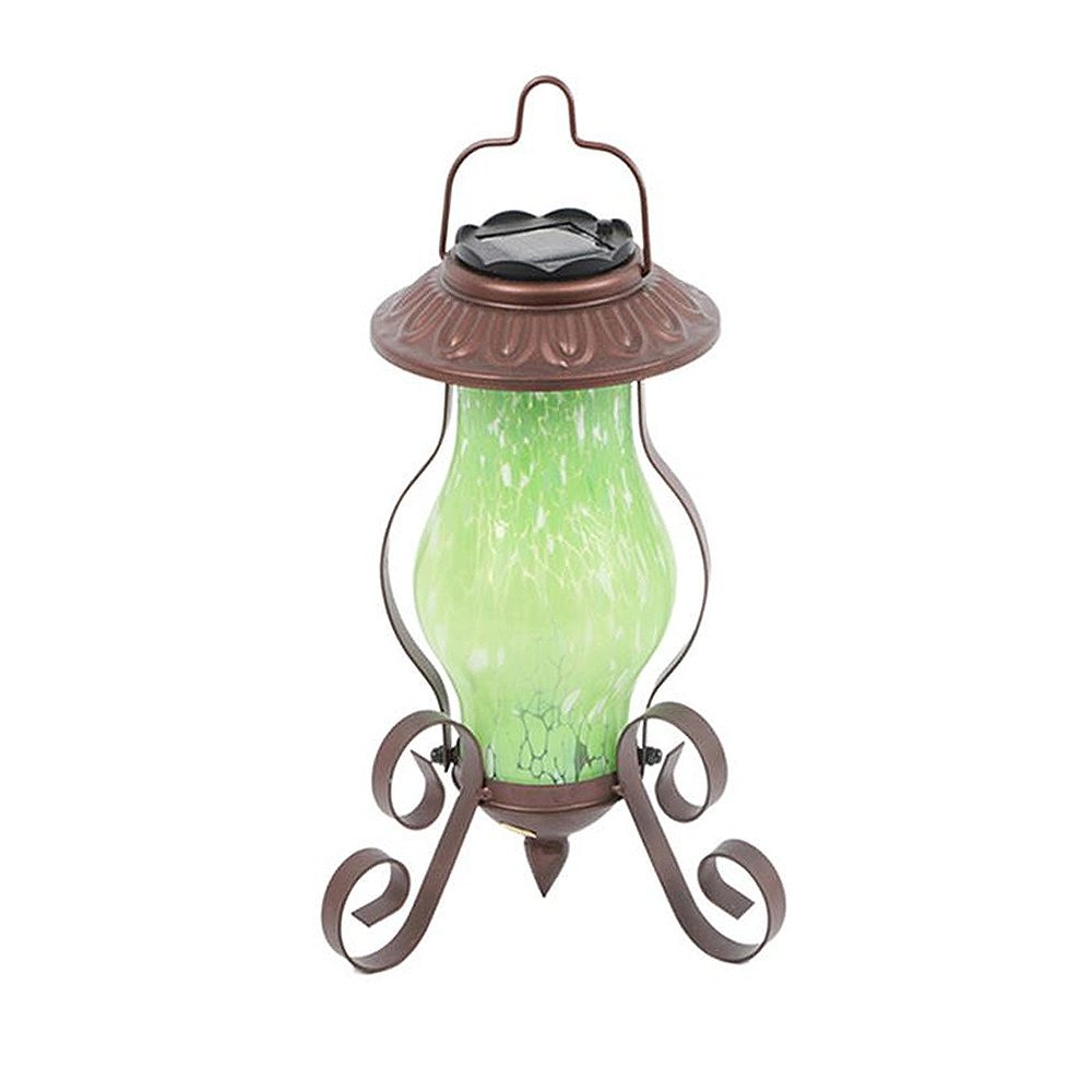Farm to Table Art Glass Solar-Powered Metal Garden Lantern - Hanging or Tabletop (Green)