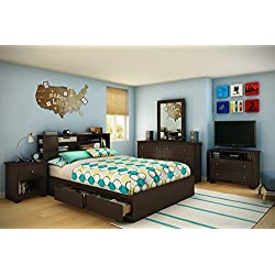 60'' Queen Size Mates Bed, Brown Finish, Metal Drawer Slides, Bedroom Furniture, 2 Practical Drawers, Extra Storage Space, Bedding, Bundle with Our Expert Guide with Tips for Home Arrangement