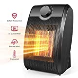 Space Heater, Quiet Mini Electric Ceramic Heater, Adjustable Thermostat, Over-Heat Protection and Multifunctional Portable 750W/1500W Heater Fan for Home and Office Indoor Use