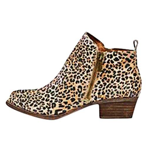 Moda Casual Donna Tacco Blocco Stivali Tacco Stivaletti Minetom Elegante Stivaletti Autunno PU con Leopardo Chelsea Sexy Boots Invernali qPE4Fg6