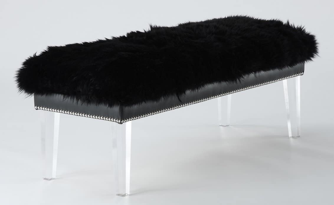 Tov Furniture The Luxe Collection Modern Sheep Skin Upholstered Wood Accent Bench with Lucite Legs, Black