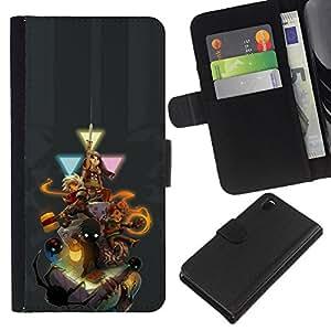 YiPhone /// Tirón de la caja Cartera de cuero con ranuras para tarjetas - Personajes del juego - Sony Xperia Z3 D6603