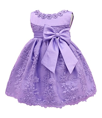 HX Baby Girl's Newborn Bowknot Gauze Christening Baptism Dress Infant Flower Girls Wedding Dresses 13 Color (6M/6-9 Months, Light Purple)