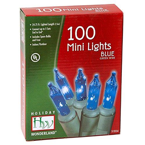 Holiday Wonderland Christmas Light Set, Blue, 100 Mini Lights (2 Pack)
