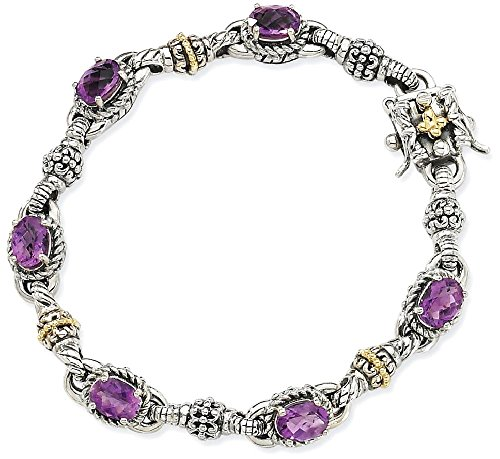 ICE CARATS 925 Sterling Silver 14k Purple Amethyst Bracelet 7.25 Inch Gemstone Fine Jewelry Ideal Mothers Day Gifts For Mom Women Gift Set From Heart by ICE CARATS (Image #1)