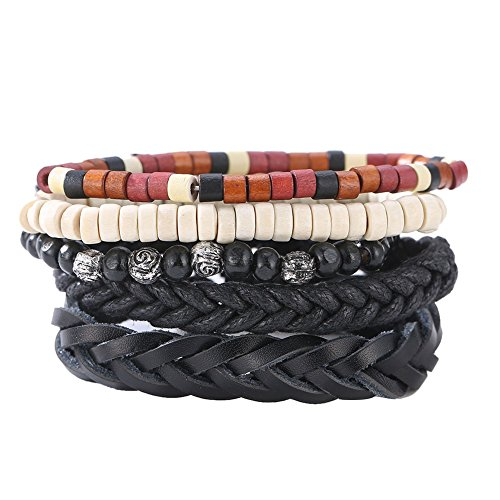 Diamondo Man Woven Bracelet Handmade Cowhide Leather Beads Multilayers Wrap Wristband