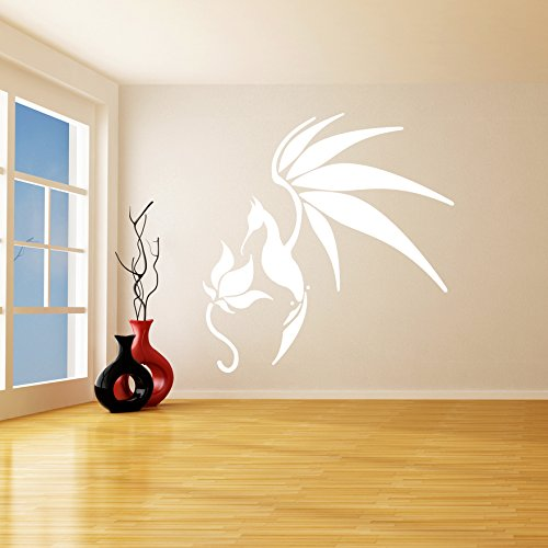 ( 92'' x 94'' ) Glowing Vinyl Wall Decal Bird with Flower / Glow in the Dark Art Decor Sticker / Fantasy Luminescent Mural Kids Room + Free Decal Gift!