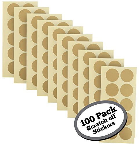 100-Pack of 1 Inch Gold Scratch Off Stickers. The decals are perfect for any personalized paper projects such as DIY baby gender reveal cards, bridal showers, kid charts, announcements, etc. (Discount Ticket)