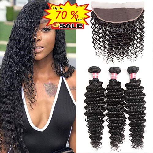 WENYU Brazilian Virgin Deep Wave Human Hair 3 Bundles with Frontal Lace Closure 13x 4 Ear to Ear Lace Frontal with Bundles Weave Natural Black(Deep 22 24 26+20 Frontal, Deep -