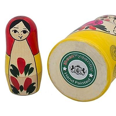 BestPysanky Set of 6 Traditional Semenov Matryoshka Wooden Russian Nesting Dolls 5.5 Inches: Toys & Games