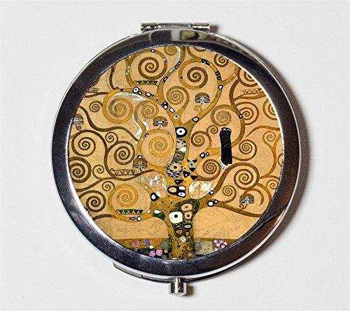 Tree of Life Gustav Klimt Compact Mirror Fine Art Painting Pocket Mirror for Cosmetics by Fringe Pop