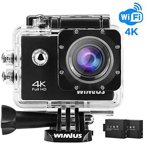 WiMiUS Action Camera 4K Video 16MP 40M Underwater Cameras Sports Camcorder WiFi Bike Helmet Cam 2.0'' LCD Screen 170° Wide Angle Dual Rechargeable Batteries Waterproof Case and Kit of Accessories, Q1 by WiMiUS