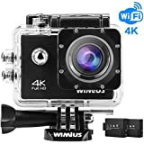 WiMiUS 4K Action Camera 16MP 40M WiFi Underwater Cameras Sports Camcorder Bike Helmet Cam 2.0 LCD Screen 170° Wide Angle Dual Rechargeable Batteries Waterproof Case Kit of Accessories, Q1, Black