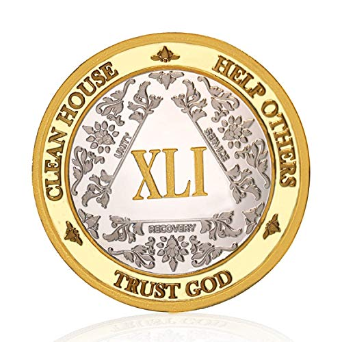 Silver & Gold 41 Year Alcoholics Anonymous Medallion AA Coin Capsule Included