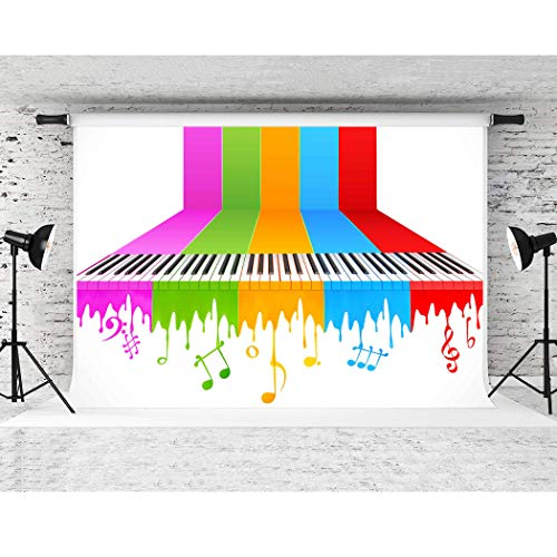 Music Backdrop Soft Fabric 7x5ft,5 Colors Paino Keys Symbol Photography Backgrounds with Pockets,Themed Party Banner Photo Studio Props No Wrinkle FSP001 -