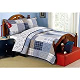2 Piece Blue White Plaid Kids Twin Quilt Set, Cabin Lodge Stripe Theme Bedding, Checkered Squares Check Lumberjack Rugby Stripes Pattern Tartan Madras Patchwork Reversible Dinosaur, Cotton