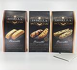 DiBella Gourmet Artisan Style Italian Biscotti Cookies Variety Bundle: 1- Coconut Almond Mocha, 1-Apricot Almond, 1 Maple Walnut + a Bonus Free Organic Sweet Coffee Recipe from Z-Organics (3+ Items)