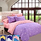 wiwanshop KCASA KC-BS20 4pcs Bedding Suit Polyester Fibre Star Moon Reactive Printed Beddi