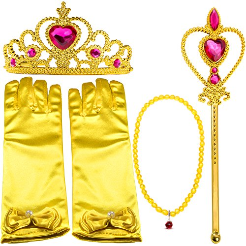 Pink Belle Costumes (Yellow Dress Up Party Costume Accessories 4Pieces Gift Set For Princess Belle cosplay: Tiara, Wand and Gloves(Pink))