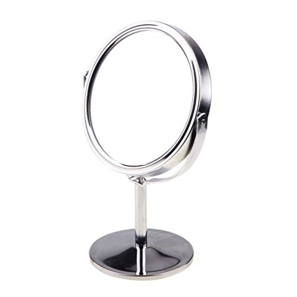 Frcolor Makeup Mirror Double Sided Magnifying Table Mirror Round Rotary Desk Mirror 9* 5 * 14.5cm