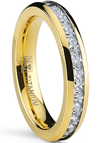 Metal Masters Co. 4MM Goldtone Plated Princess Cut womens Eternity Titanium Ring Wedding Band with Cubic Zirconia CZ