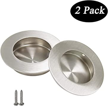 Circular Recessed Sliding Door Handles Round Flush Finger Pulls Diameter 2 1 2 In Stainless Steel 2 Pack Amazon Com