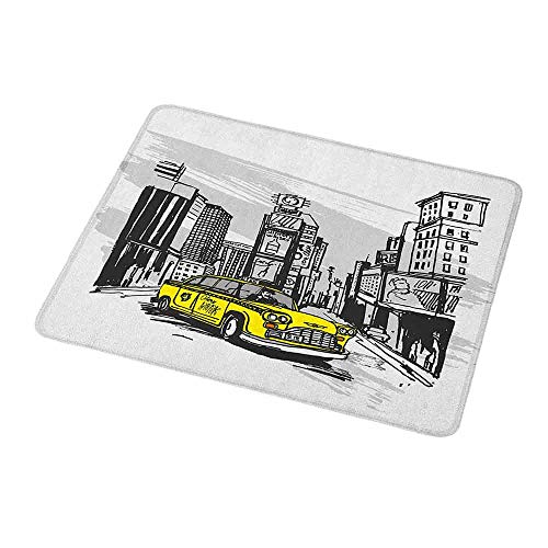 - Gaming Mouse Pad Custom Design Mat Sketchy,Yellow Hand Drawn Cab in New York Street Cityscape American Urban Life Art,Black Taupe Yellow,Non-Slip Rubber Mousepad 9.8