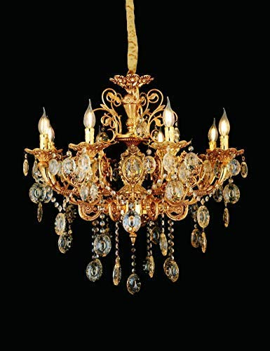 Eplazalighting Gold Chandelier with Different Lamp Size, Candle-Style Zinc Crystal, Light Fixtures Ceiling Chandelier Pendant Lighting Small and Large Shapes for Bedroom Livingroom (6lights)