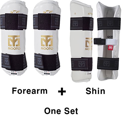 Mooto Korea Taekwondo Extera Protector Forearm & Shin One Set White TKD Martial Arts Protection Gear (XS(Forearm+Shin))