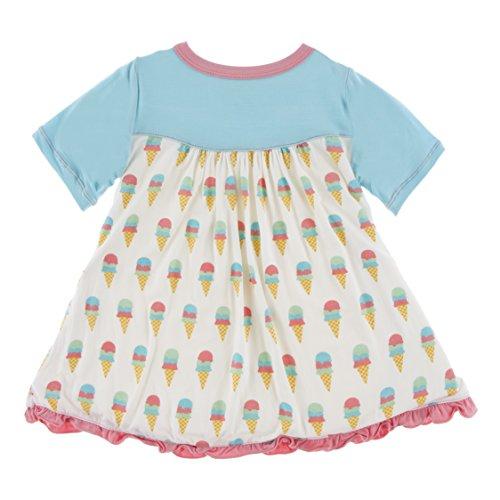 Kickee Pants Little Girls Print Classic Short Sleeve Swing Dress, Natural Ice Cream, 4T