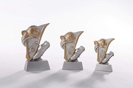Henecka Fussball-Pokal oder als 3er-Serie mit Wunschgravur Silber mit Gold w/ählbar in 3 Gr/ö/ßen Resinfigur Fussball