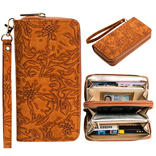 Serpentine Clutch - Women's Rfid Dual Zipper Clutch Wallet Long Cellphone Credit Card Purse Holder Handbags Serpentine Wristlet with Strap (Cognac-Flower Pattern)