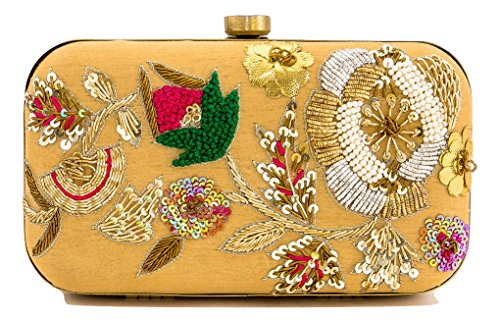 (Floral Embroidered Taupe Silk Clutch with Bead Work)