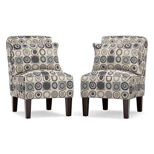 Amazon Com Domesis Armless Accent Chair Set In Gray