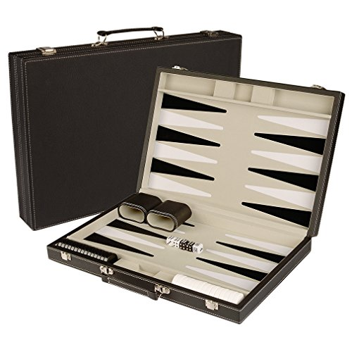 """17"""" Classic Leatherette Backgammon Game Set with Board / Travel Case"""