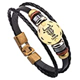HIRIRI Hot Sale Unisex 12 Constellations Bracelet Fashion Jewelry Alloy Leather Bracelet Personality Bracelet Gift (Taurus)