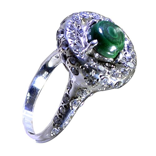 Jewelryonclick Genuine Malachite Silver Engagement Rings for Women Jewelry In Size 4,5,6,7,8,9,10,11,12 ()