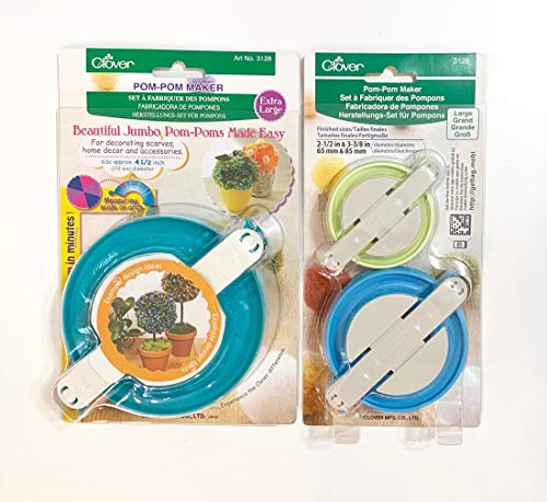 Clover Pom Pom Maker Set ~Includes 3 Different Sizes! (Large and Extra Large Sizes) from SHARP SEWING