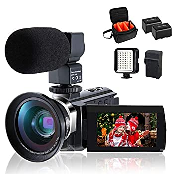Image of 4K Camcorder Vlogging Video Camera for YouTube CofunKool 60FPS 48MP Ultra HD WiFi Night Vision 16X Digital Zoom with Microphone Wide Angle Lens LED Light Battery Charger Shoulder Bag (2 Batteries) Camcorders